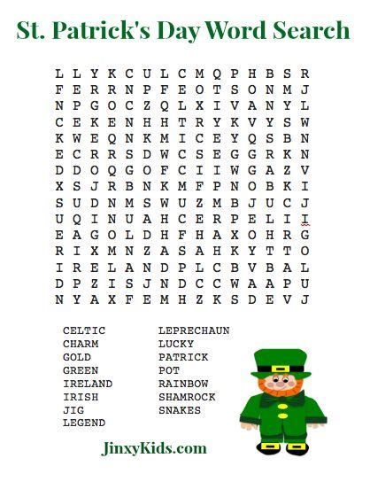 printable st patricks day word search puzzle