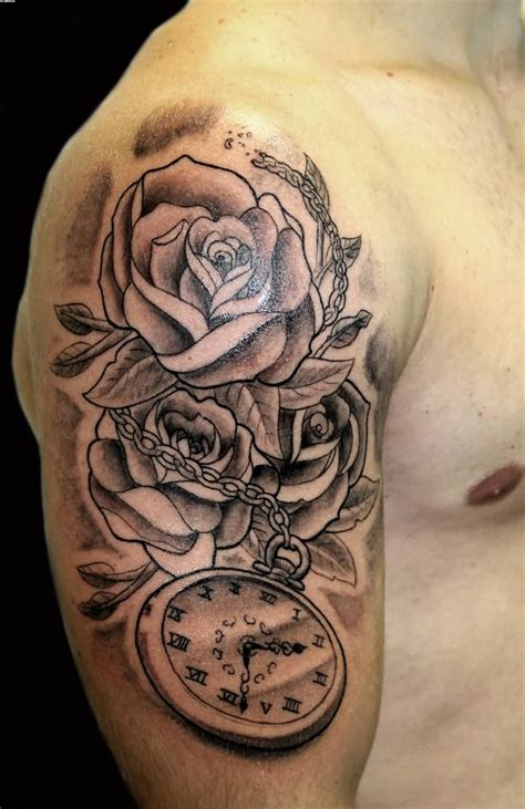 clock tattoo with roses grey roses and clock on right half sleeve