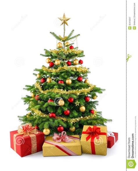 lush christmas tree with gift boxes royalty free stock