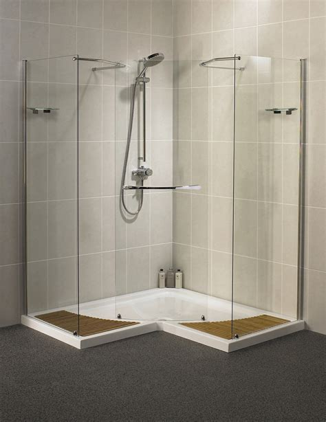 Freestanding Baths With Shower Over aqualux aquaspace corner walk through shower enclosure 1500mm