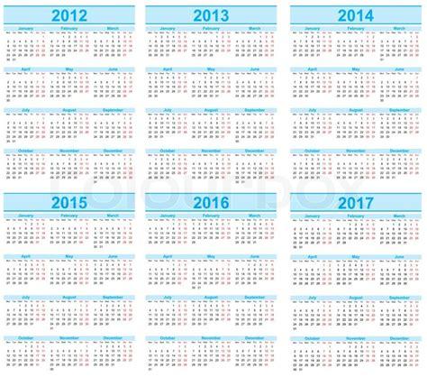 Calendar From 2014 To 2016 Calendar 2012 2013 2014 2015 2016 2017 Stock Vector