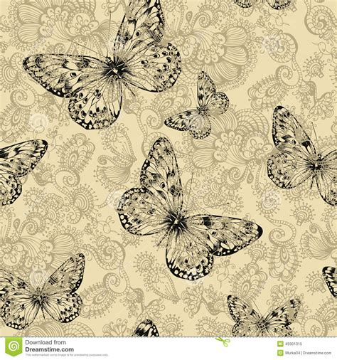 floral pattern hand drawing seamless floral pattern with butterflies hand drawing