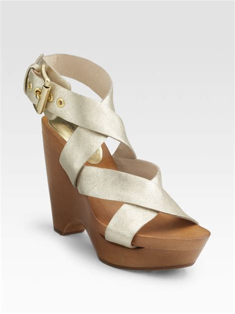 white and gold sandals michael by michael kors sycamore wedge sandals in beige
