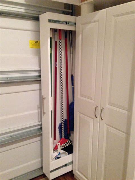 garage organized broom closet garage broom storage