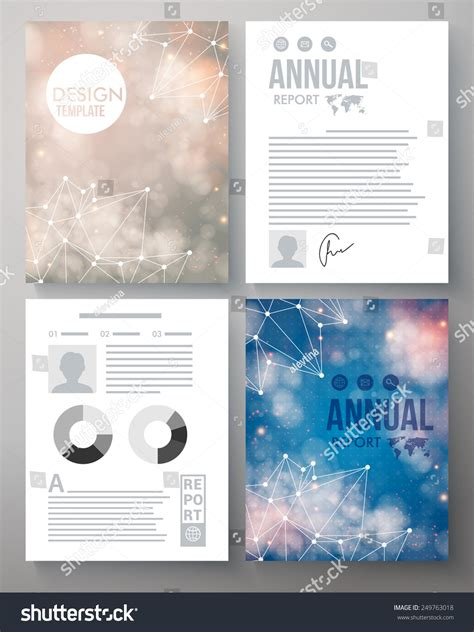 Constellation Report Template Company Report Vector Template Illustrated With The