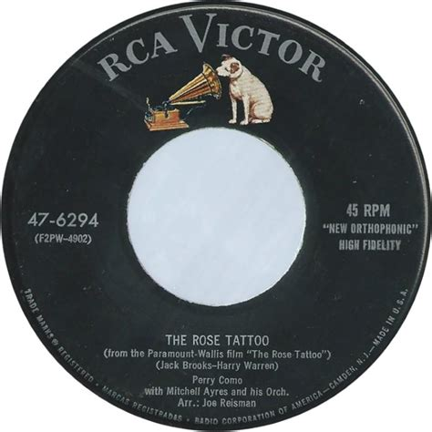 rose tattoo lyrics perry como 45cat perry como all at once you love her the rose