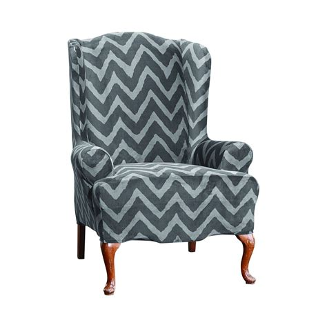 wing sofa slipcover plush chevron wing chair slipcover sure fit