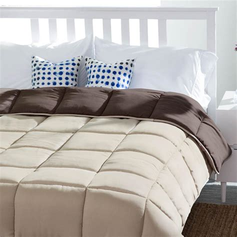 quilted down comforter linenspa reversible sand mocha down alternative twin