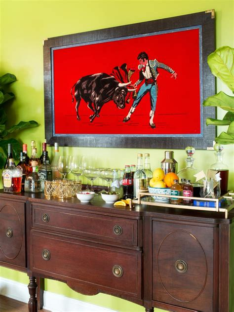 turn a buffet or desk into a cocktail bar entertaining