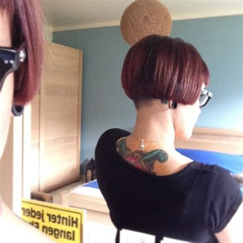 redhair nape shave short undercut bob with fringe and clippered nape from go