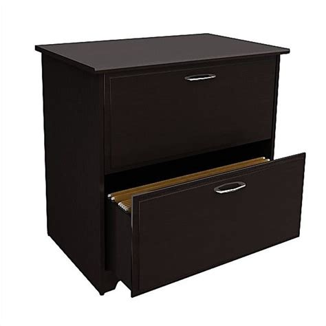 Bush Cabot 2 Drawer Lateral File Cabinet In Espresso Oak Espresso Lateral File Cabinet