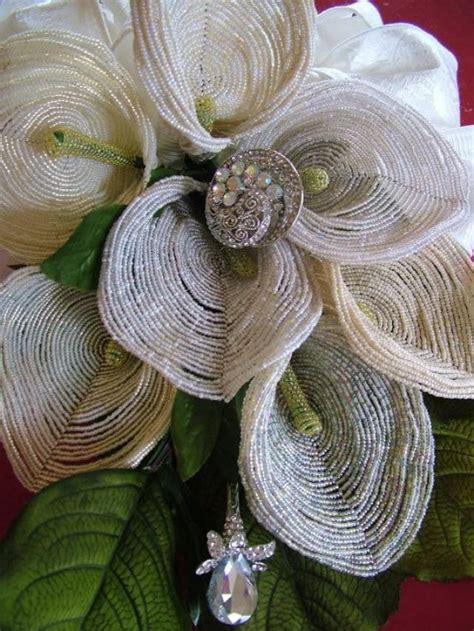 Handmade Flower Bouquets - wedding bouquet handmade beaded flowers and
