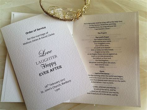 Wedding Order by Laughter Wedding Order Of Service Books Stationery