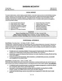 social work resume template social worker resume sle