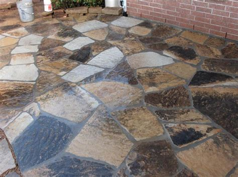 flagstone paver concrete patio design installation