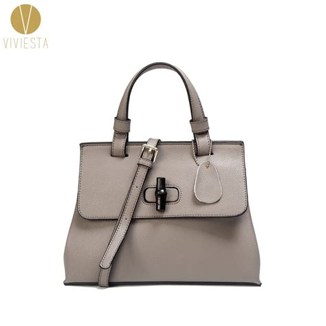 Satchel Bag No Brand genuine leather bamboo lock top handle bag s 2018 fashion brand no logo