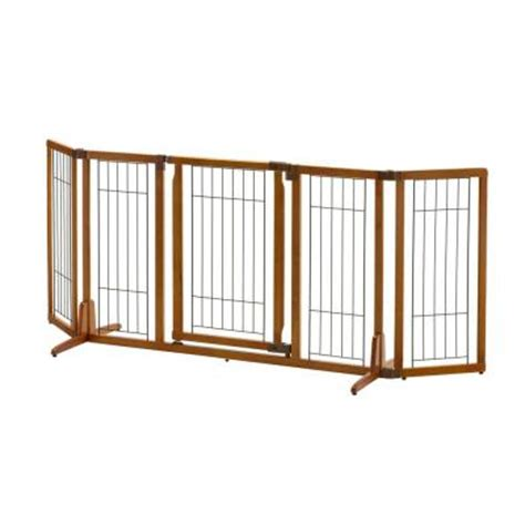 richell 32 in x 84 3 in wide wood premium plus pet gate