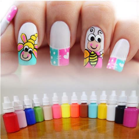 imagenes uñas pintadas con agua 161 kit de 12 pinturas acr 237 licas nail art decoraci 243 n u 241 as