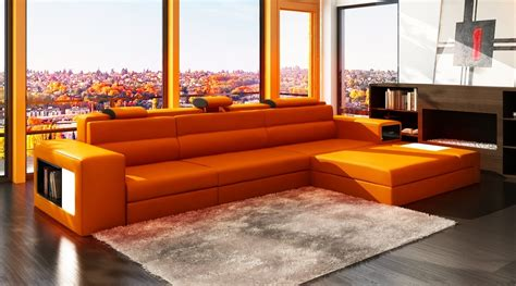 orange contemporary sofa polaris mini contemporary orange bonded leather sectional sofa