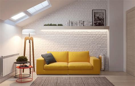 living room with yellow sofa minimalist design with soft furnishings that would be