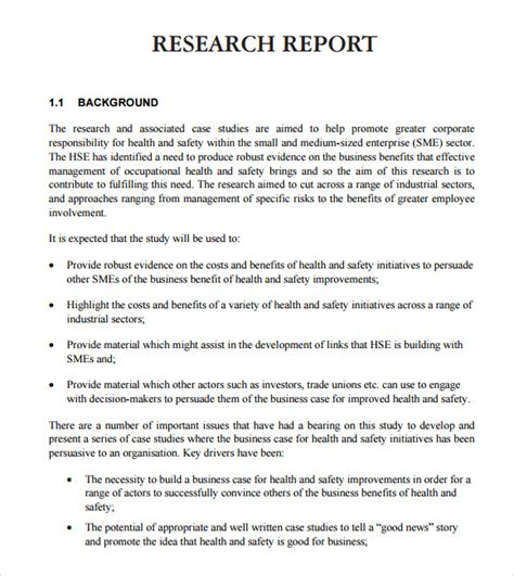 Research Report Template sle research report 6 sle exle format
