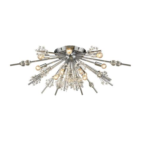 starburst flush mount light titan lighting starburst 12 light polished chrome semi