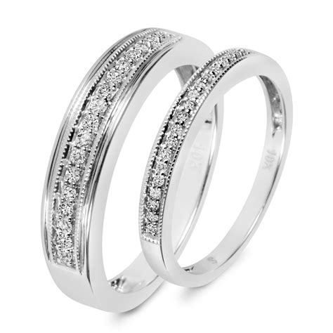 1 4 ct t w his and hers wedding band set 14k