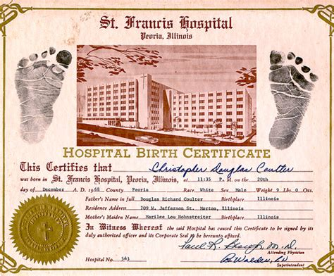 Hospital Birth Record Chris Hospital Birth Certificate 1968 Flickr Photo