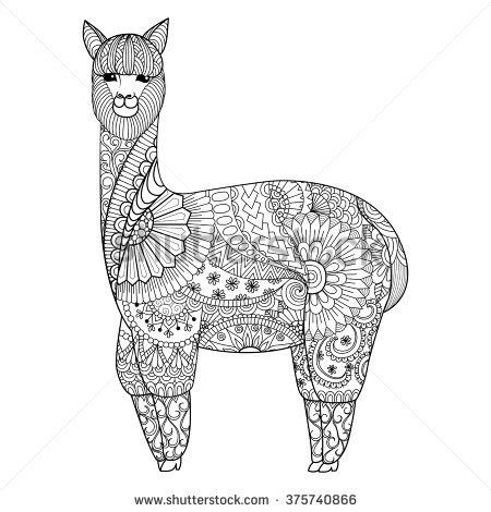 design for adults alpaca zentangle design for coloring book for logo