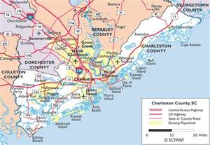 carolina map of coast below is a list of towns in and around charleston as well