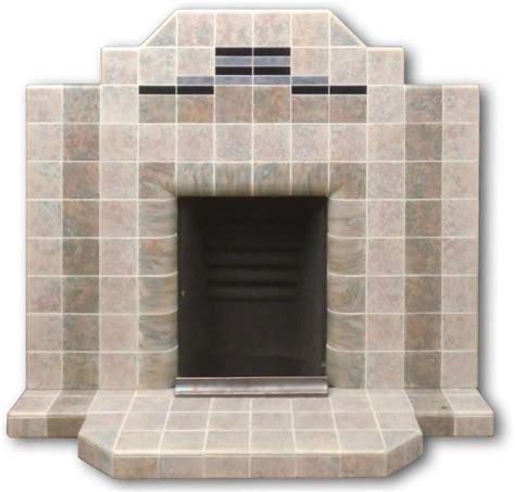 1930s art deco tiled fireplace with mottled blue tiles