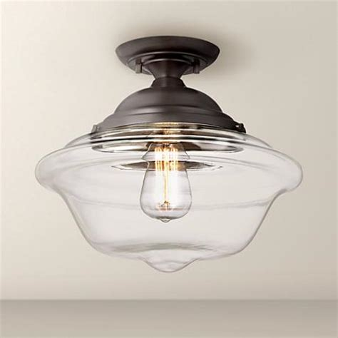 Schoolhouse Ceiling Light Fixture Possini Schoolhouse 13 Quot Wide Bronze Ceiling Light 4j483 Www Lsplus