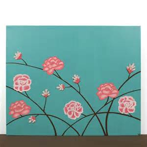 modern wall decor for teen girls room pink and teal flower