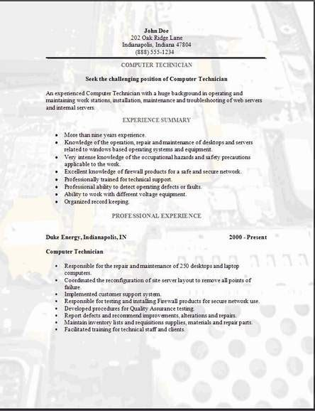 Industry Jargon Resume by Computer Technician Computer Technician Objective Resume