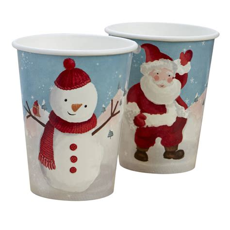 christmas snowman and santa paper cups by ginger ray