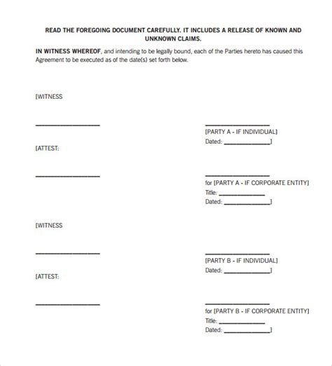 blank printable invitations settlement agreement template 10 download documents in