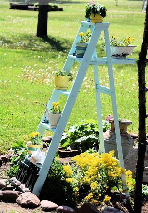 Garten Deko Leiter by Blumenst 228 Nder Selber Bauen Alte Holzleiter Als