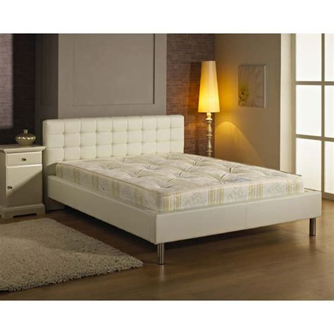 bali bed bali faux leather double bed in white bedroom stuff