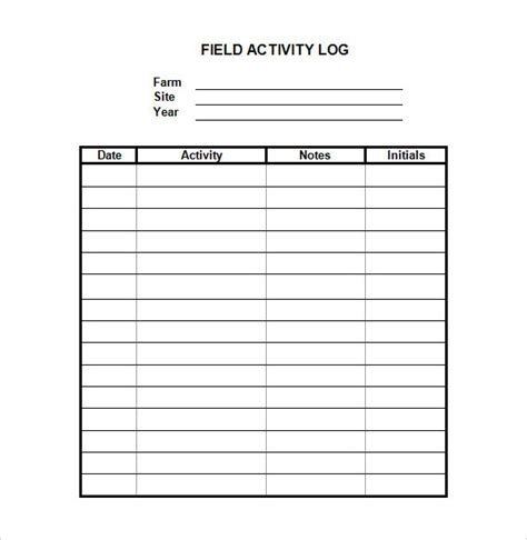 28 Log Templates Sle Templates Daily Activity Log Template Excel