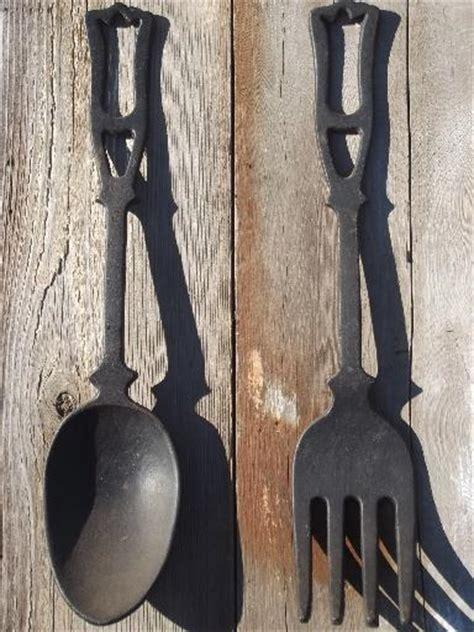 fork art spoon art kitchen decor kitchen utensil art large spoon fork vintage kitchen wall art black cast