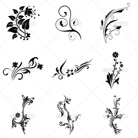 abstract tribal decorative flowers vector pack by vecras