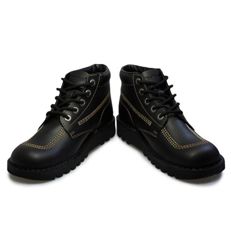 kickers shoes kickers kick hi m black gold leather youth school
