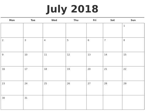 calendar template july 2018 july 2018 free calendar template