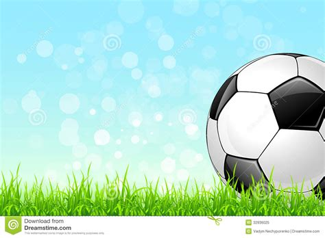 soccer ball on green grass background royalty free stock