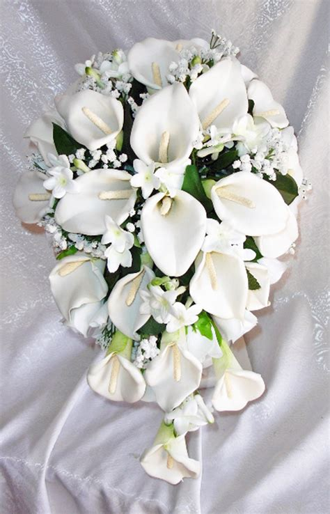 Silk Wedding Flowers Bouquets by White Calla Lilies Stephanotis Cascade Bridal Bouquet