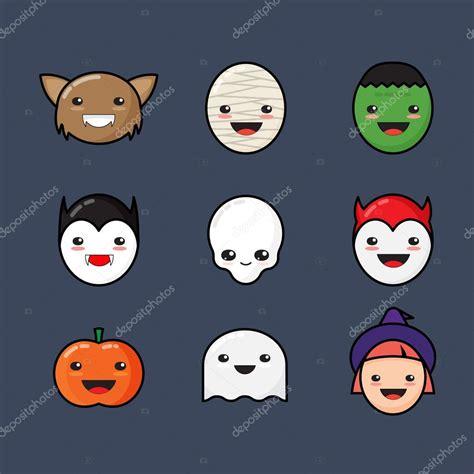 imagenes de halloween kawaii cute kawaii halloween icons set funny monster faces on