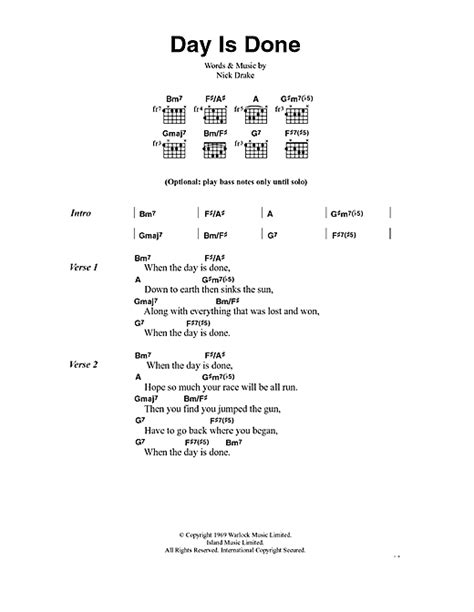 lyrics day is day is done sheet by nick lyrics chords