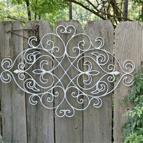 Wrought Iron Outdoor Wall Decor by White Shabby Chic Metal Wall Decor Fleur From