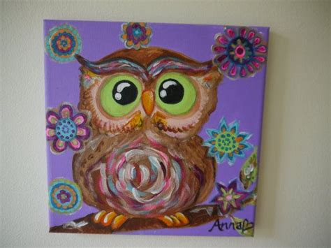 acrylic painting gift ideas purple owl surrounded by flowers bedroom or nursery