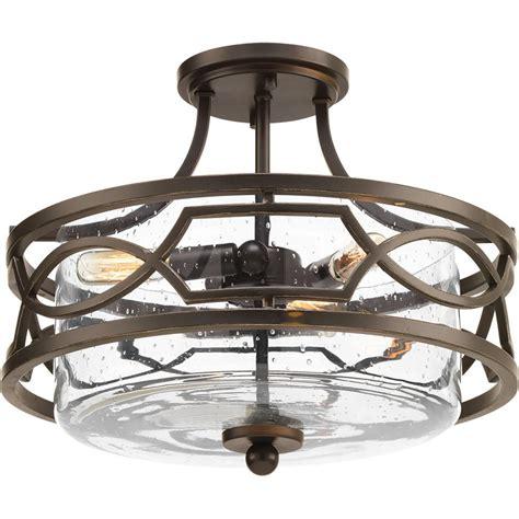 bronze semi flush mount light progress lighting soiree collection 3 light antique bronze